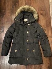 Womens Michael Kors Black Parka Coat W Faux Fur Hood Gold Buttons Small
