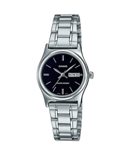 NEW Casio LTP-V006D-1B2 Women's Stainless Steel Watch Black Dial Day Date