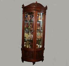 Antique Carved Oak Corner China Curio Cabinet – curved beveled glass
