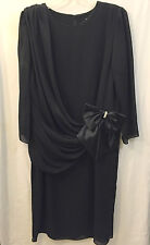 Formal Black Dress 22 1/2 Chiffon Draping Satin Bow Rich Lady USA Tea Length