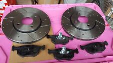 FOR FORD ESCORT RS COSWORTH CROSS DRILLED GROOVED BRAKE DISC BRAKE PADS FRONT