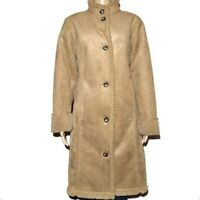 LL Bean Women Faux Shearling Lined Suede Long Coat Size Medium 38L x 23W