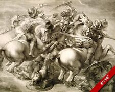 BATTLE OF ANGHIARI 4 HORSEMEN LOST DA VINCI PAINTING WAR ART REAL CANVAS PRINT