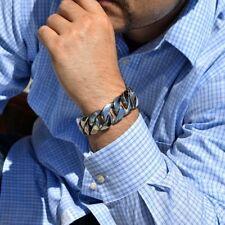 "Mens Big Bracelet Cuban Link Heavy 316L Stainless Steel Metal 25MM 8.5"" Inch"