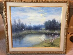"""Vtg Original Oil Painting ERWIN BARRIE (1886-1983) """"Blossom Time Connecticut"""""""