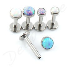 TITANIUM Labret Bezel-Set  Synthetic OPAL Internal Thread Lip Tragus Bar Stud