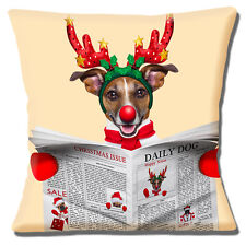 Jack Russell Dog Cushion Cover 16 inch 40cm Christmas Reindeer Antlers Red Nose