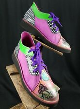 Women's 7.5 Soletech Eclectic Leather Hot Pink Hand Painted Dotty Bootie Shoes