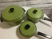 Vintage Pot and Pans Set Stainless Steel Avocado Green Enamel Mid Century Modern