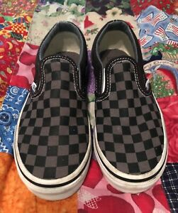 Vans Off The The Wall Classic Slip On Skate Shoes Checkered Grey Black Youth 2
