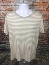 Theory Men's Beige Striped Casual Shirt Pima Cotton Large