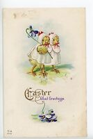 Antique Easter Chicks FANTASY Postcard Dressed-Animals in Bonnets ca. 1914