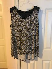Jones New York Signature Women Floral Print Sleeveless Blouse Large