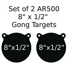 "Set of 2 AR500 Steel Target Gong 1/2"" x 8"" Painted Black Shooting Practice Range"