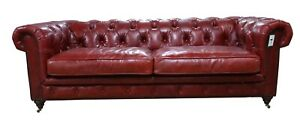 Chesterfield Real Distressed Vintage Sofa 3 Seater Red Stocked Available Now!