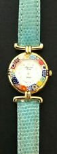 H. Mosaica Murano Glass Watch Vintage Vera Pelle Leather Band Made in Italy