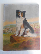 Antique oil painting dog Border Collie with landscape, sheep primitive unsigned