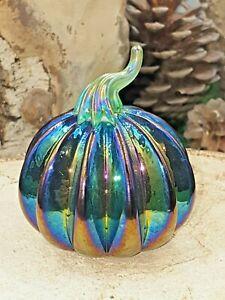 Neo Art Glass handmade halloween purple pumpkin paperweight sculpture K.Heaton