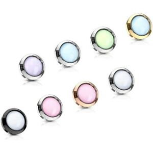 ILLUMINATING EPOXY STONE DERMAL ANCHOR TOP STEEL BODY PIERCING JEWELRY (14G)