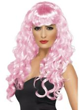 Pink Siren Wig Long, Curly with Fringe Adult Womens Smiffys Fancy Dress Costume