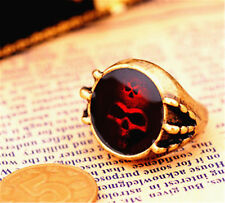 vintage bronze oil spot skull ring biker punk goth gear