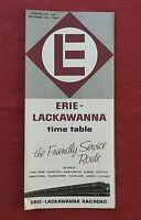 1961 ERIE LACKAWANNA RAILROAD PA PENNSYLVANIA TIME TABLE BROCHURE NICE