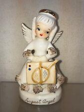 Vtg 1950's Japan Spaghetti Trim August Suitcase Tennis Racket Angel Figurine
