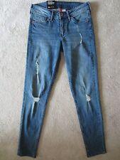 WOMEN'S H&M DIVIDED SUPER SKINNY REGULAR WAIST BLUE DISTRESSED JEANS 6 US/36EUR