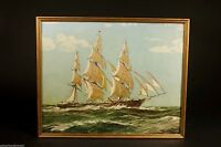 "Unnamed SAILING SHIP At Sea Lithograph Print 17.5"" x 21"" 1940's Antique!"