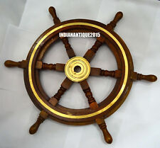 Wall Decor Nautical Brown wooden Ship wheel 24 Inch