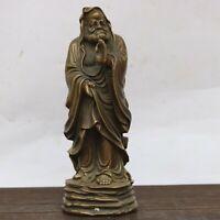 7.5″ Tibet Buddhism Temple old Bronze Copper Bodhidharma Pray buddha Statue