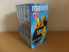More details for a pack of 5x maxwell e-180m blank recordable vhs video tapes pal secam - new