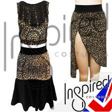 Falda señoras Latino Salón de Baile Latino Bailar halos Top Split Falda Estampado De Leopardo