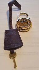 MICHAEL KORS LOGO GOLD MEDIUM LOCK & KEY HANDBAG CHARM SET   GOLD/DK WINE  NWOT
