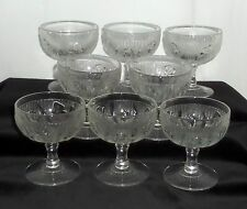 """New listing 8 Jeannette Iris Crystal *4"""" Tall Sherbets*"""
