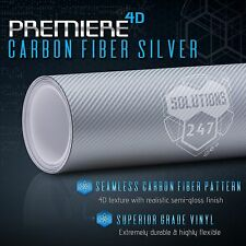 "60""x72"" In Vinyl Wrap Bubble Free Air Release - 4D Silver Carbon Fiber Gloss"