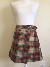 New! brandy melville red/beige/navy plaid wrap buckle Emerson skirt NWT sz S
