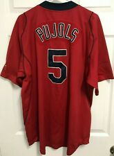 ALBERT PUJOLS 5 St Louis Cardinals Red Button Up Fit Dry Baseball Jersey L Nike