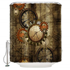 Decorative Polyester Fabric Shower Curtains with Hooks for Bathroom Steampunk