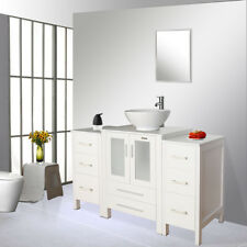 """48"""" White Bathroom Cabinet Small Side Vanity Set Vessel Sink Faucet Mirror Combo"""