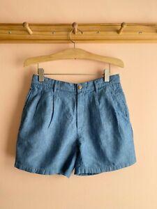 CHIMALA Japan indigo chambray cotton linen shorts trousers 26 4 6 la garconne