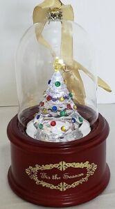 Christmas Tree Music Box, Hanging Dome, Lighted, Wind-Up, 69423, NIB