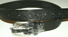 NEW BLACK LEATHER BELT W/BUCKLE EAGLE/BUTTERFLY 34 X 1 1/2  FREE S/H