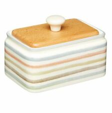 STRIPED Country KITCHEN Ceramic BUTTER DISH with Wooden LID Storage