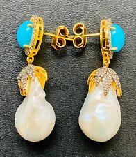 Rarities Champagne Diamond, Pearl & Turquoise Gemstone Gold Plated Drop Earrings