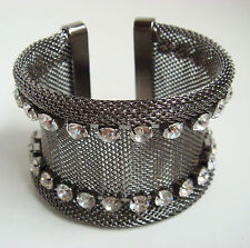 Silver Gunmetal Grey Mesh WIDE BANGLE Bracelet UK Crystal Chunky Cuff Jewellery