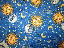 Sun Moon Planets Stars Goddess Blue Cotton Fabric FQ