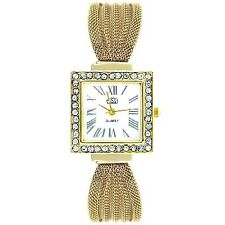 Cussi Women's Diamond Square Frame Gold Stainless Steel Strap Watch