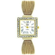 Cussi Women's Diamond Square Frame Gold Stainless Steel Strap Watch ?