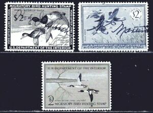 U.S. STAMPS #RW21-23 — (3) HUNTING PERMIT (DUCK) STAMPS 1954 USED